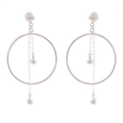 Sterling silver dangle earrings, 'Pendulum Hoop' - Sterling Silver Circle and Pendulum Dangle Earrings