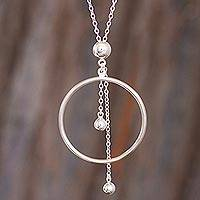 Sterling silver pendant necklace, 'Pendulum Hoop'