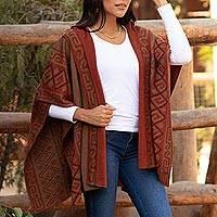 Reversible alpaca blend hooded ruana, 'Inca Adventure' - Reversible Sepia and Pumpkin Alpaca Blend Hooded Ruana