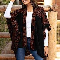 Reversible alpaca blend ruana, 'Inca Afternoon in Black' - Mahogany and Black Alpaca Blend Ruana from Peru