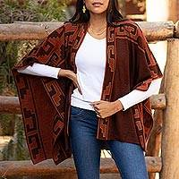 Reversible alpaca blend ruana, 'Inca Afternoon in Russet' - Russet and Black Alpaca Blend Ruana from Peru
