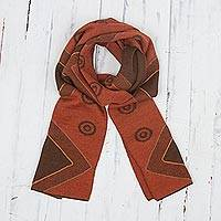 Alpaca blend scarf, 'Chestnut and Pumpkin Andes' - Chestnut and Pumpkin Knit Alpaca Blend Wrap Scarf from Peru