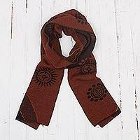 Men's alpaca blend scarf, 'Mahogany and Black Cosmovision' - Reversible Black and Mahogany Alpaca Blend Scarf from Peru
