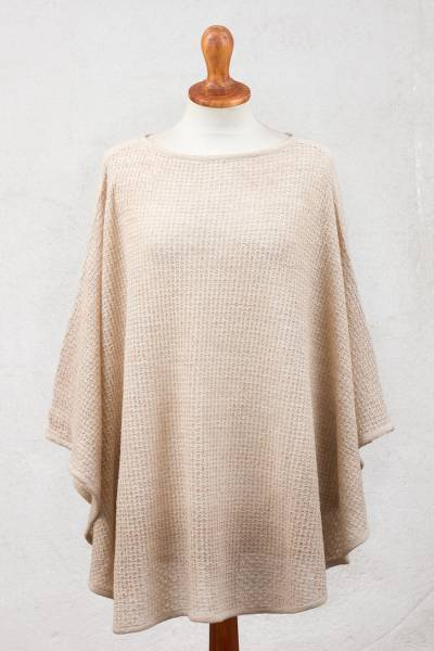 Alpaca blend poncho, Dreamy Warmth in Ivory