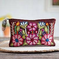 Wool clutch, 'Peruvian Bouquet' - Handwoven Floral Wool Clutch in Mahogany from Peru