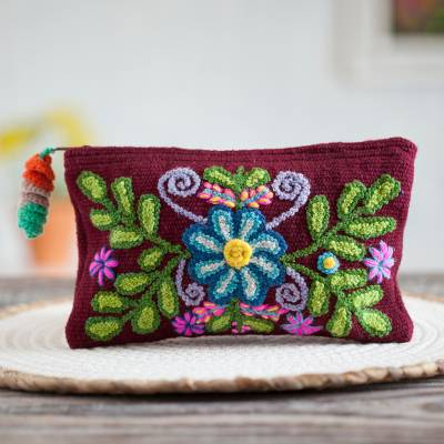 Wool clutch, 'Peruvian Garden' - Handwoven Floral Wool Clutch in Maroon from Peru