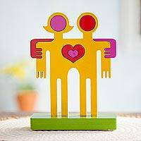 Wood sculpture, 'Couple Love' - Original Romantic Wood Sculpture from Peru