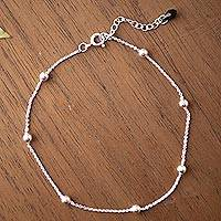 Sterling silver station anklet, 'Black Charm' - Sterling Silver Station Anklet with a CZ Charm from Peru