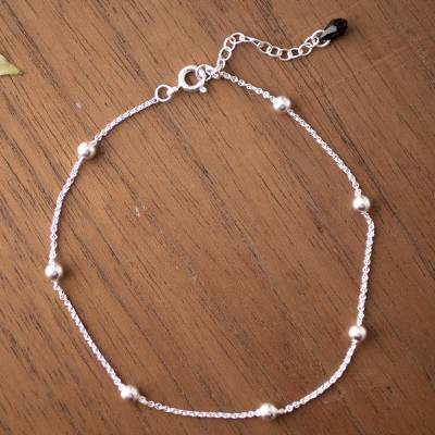 Sterling silver station anklet, Black Charm
