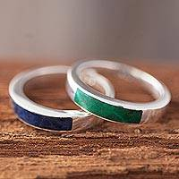 Chrysocolla and sodalite band rings, 'Dual Enchantment' (pair)