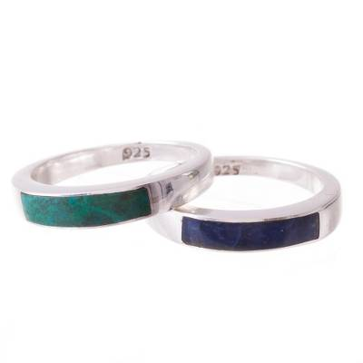 Chrysocolla and sodalite band rings, 'Dual Enchantment' (pair) - Chrysocolla and Sodalite Band Rings from Peru