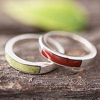 Jasper and serpentine band rings, 'Dual Enchantment' (pair)