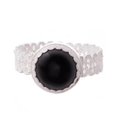 Onyx Filigree Cocktail Ring Crafted in Peru