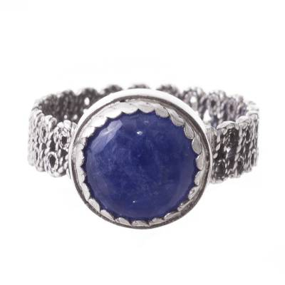 Sodalite Filigree Cocktail Ring Crafted in Peru
