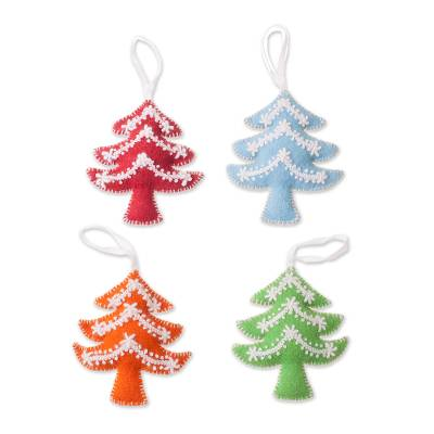 Assorted Wool Tree Ornaments from Peru (Set of 4)