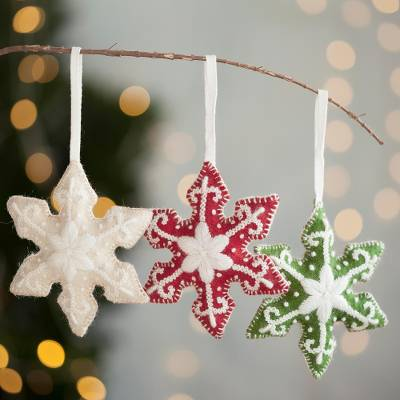 Wool ornaments, Holiday Snowflakes (set of 3)