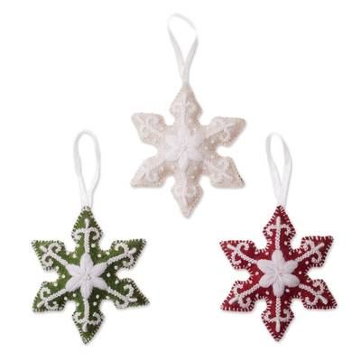 Assorted Wool Snowflake Ornaments from Peru (Set of 3)
