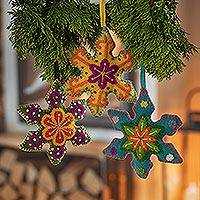Wool ornaments, 'Flake Colors' (set of 3) - Embroidered Wool Snowflake Ornaments from Peru (Set of 3)