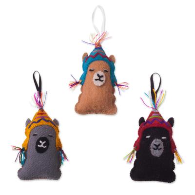Assorted Wool Llama Ornaments from Peru (Set of 3)