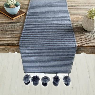 Handwoven table runner, 'Ayacucho Enchantment' - Handwoven Striped Cotton Table Runner from Peru