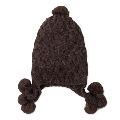 Diamond Pattern 100% Alpaca Knit Hat in Espresso from Peru