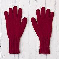 100% alpaca gloves, 'Crimson Smoke' - Crimson and Smoke 100% Alpaca Gloves from Peru