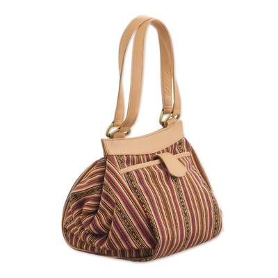 Striped Leather Accented Wool Blend Handle Handbag