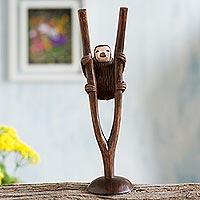 Cedar wood sculpture, 'Sloth' - Hand-Carved Cedar Wood Sloth Sculpture from Peru