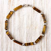 Tiger's eye beaded bracelet, 'Earthen Sophistication' - Tiger's Eye Beaded Bracelet Crafted in Peru