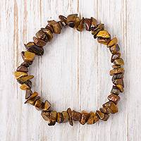 Tiger's eye beaded stretch bracelet, 'Nature's Elegance' - Natural Tiger's Eye Beaded Stretch Bracelet from Peru