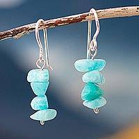Amazonite beaded dangle earrings, 'Aqua Harmony' - Amazonite Beaded Dangle Earrings Crafted in Peru