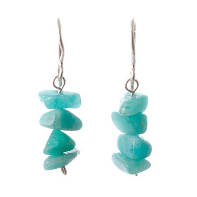 Amazonite beaded dangle earrings, 'Aqua Harmony' - Amazonite Beaded Dangle Earrings Crafted in Peru
