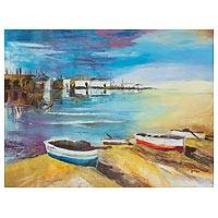 'Marina' - Signed Impressionist Painting of a Marina from Peru