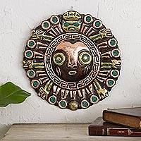 Copper and bronze wall sculpture, 'Elegant Coricancha' - Sun-Themed Copper and Bronze Inca Wall Sculpture from Peru