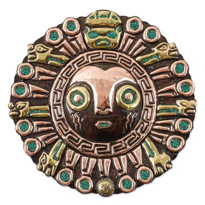 Copper and bronze wall sculpture, 'Elegant Coricancha' - Sun-Themed Copper and Bronze Inca Wall Sculpture from Peru