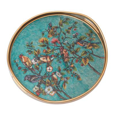 Floral Reverse-Painted Glass Tray in Turquoise from Peru