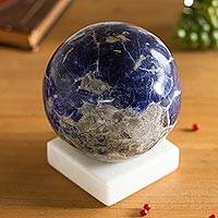 Sodalite gemstone figurine, 'Blue World' - Round Sodalite Gemstone Figurine from Peru