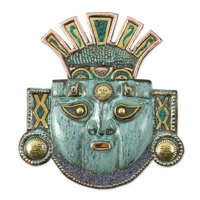Andean Moche Deity Mask in Copper and Bronze with Gemstones