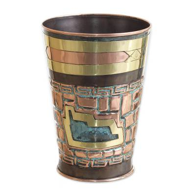 Inca Archaeology Theme Copper and Bronze Decorative Vase
