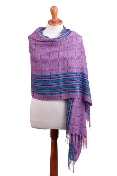 100% baby alpaca shawl, 'Sweet Temptation' - Purple and Turquoise Handwoven Baby Alpaca Shawl from Peru