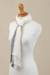 100% alpaca scarf, 'Elegant Accent' - Handwoven 100% Baby Alpaca Wrap Scarf in Alabaster from Peru (image 2e) thumbail