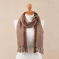 100% alpaca scarf, 'Ginger Contrast' - Ginger and Colorful 100% Alpaca Wrap Scarf from Peru