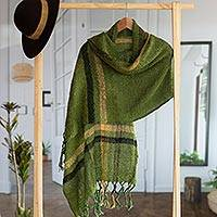 Alpaca blend shawl, 'Moss Elegance' - Handwoven Alpaca Blend Shawl in Moss Green from Peru