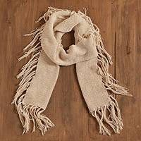100% baby alpaca scarf, 'Champagne Bliss' - 100% Baby Alpaca Scarf in Champagne from Peru