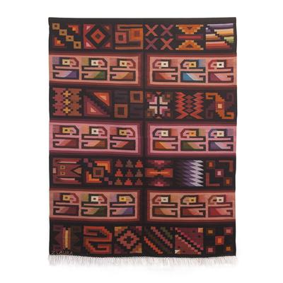 Inca-Inspired Wool Tapestry Handwoven in Peru