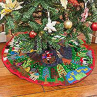 Cotton blend patchwork tree skirt, 'Christmas Time' - Christmas-Themed Cotton Blend Patchwork Tree Skirt from Peru
