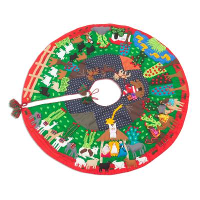 Christmas-Themed Cotton Blend Patchwork Tree Skirt from Peru
