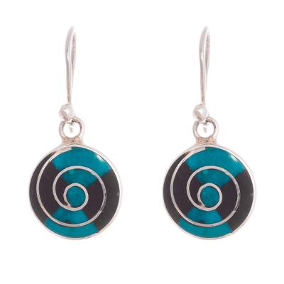 Onyx and Chrysocolla Spiral Dangle Earrings from Peru
