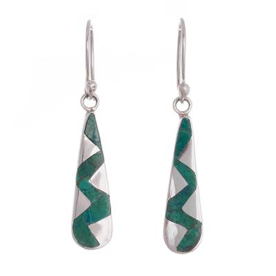 Zigzag Chrysocolla Dangle Earrings from Peru