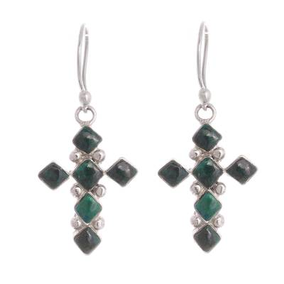 Cross-Shaped Chrysocolla Dangle Earrings from Peru